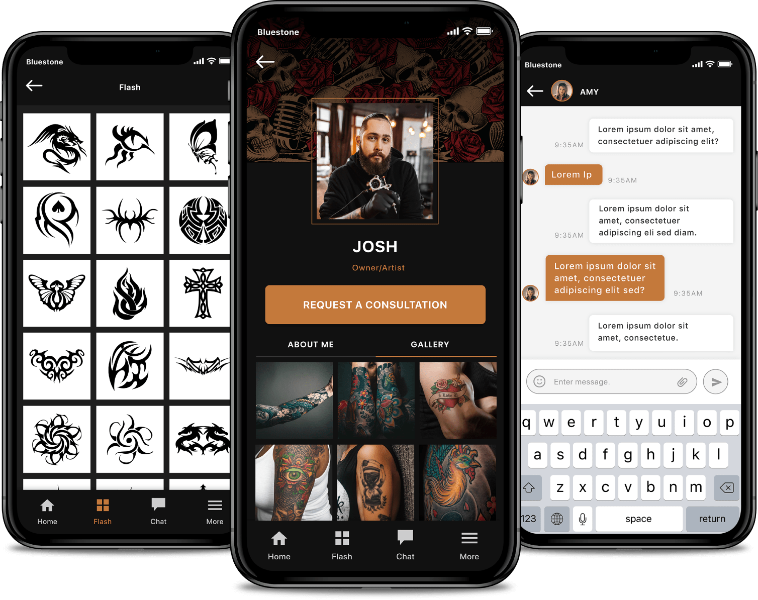 Tattoo-Artist-Profile-Gallery-and-Messaging-App-Screens