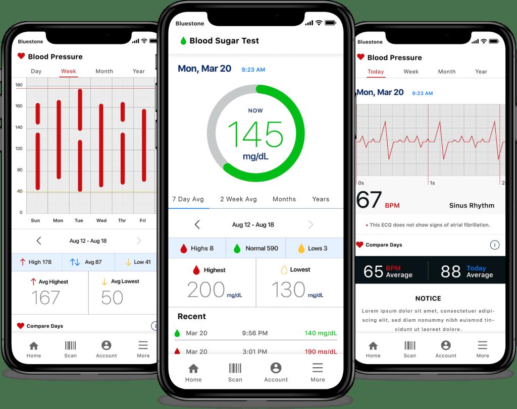 medical-device-blood-sugar-blood-pressure-and-blood-pressure-history-app-screens
