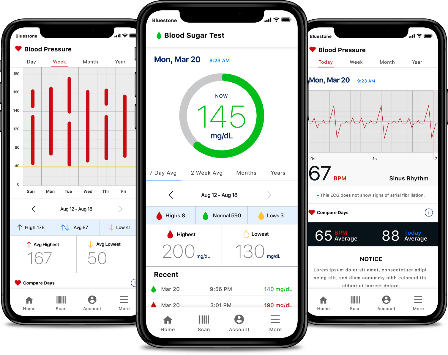 medical-device-blood-sugar-blood-pressure-and-blood-pressure-history-app-screens