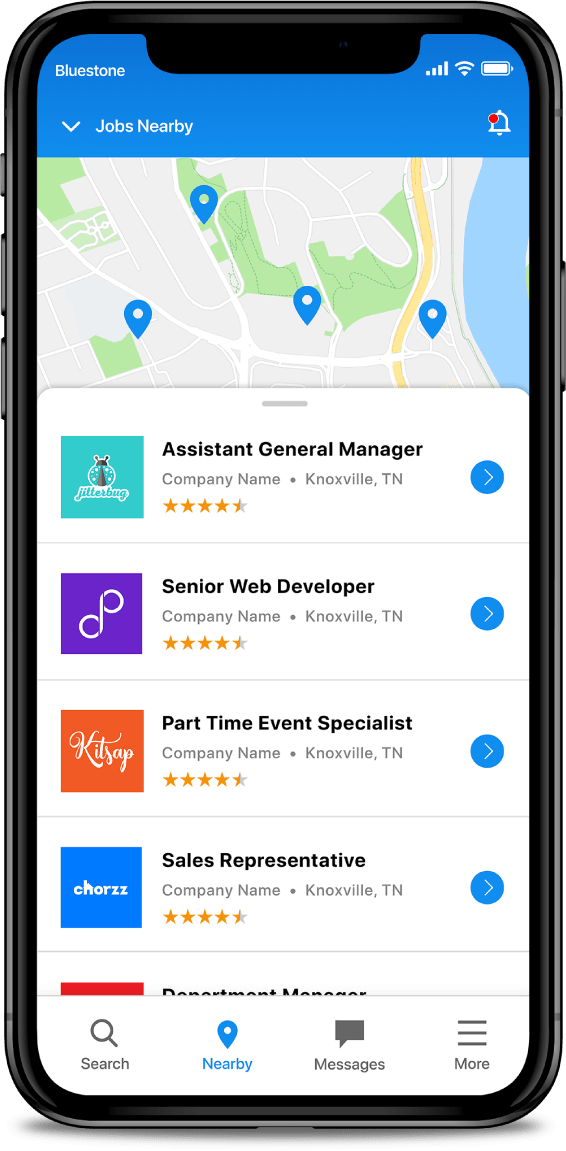 App screen shows Jobs Map app features on an iPhone X.