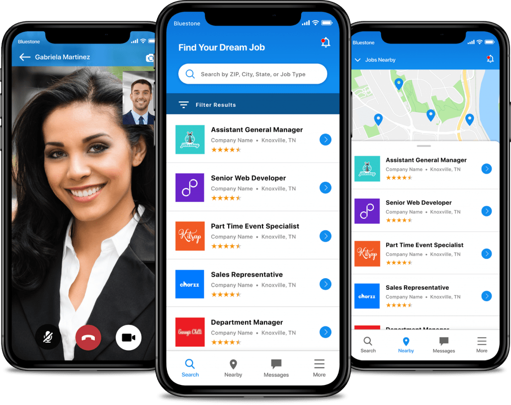 App screens show Jobs Map, Applicant Profile, and Find Jobs app features on an iPhone X.