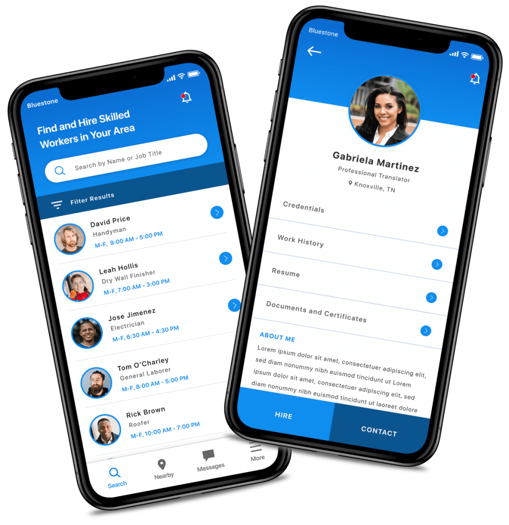 App screens show View Applicants and Video Interview app features on an iPhone X.